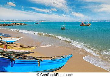 砂, sky., に対して, 海洋, 海岸, 釣り, 背景, ボート