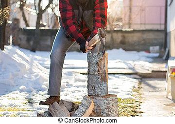 砍, 柴, 院子, 人