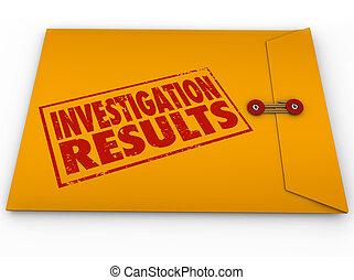 研究結果, 信封, 結果, 黃色, 研究, 調查, 報告