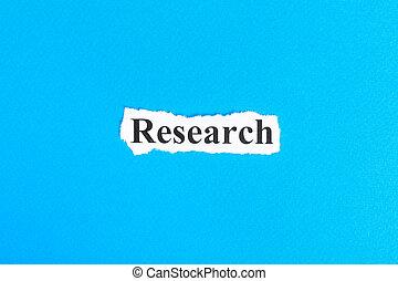 研究, テキスト, 上に, paper., 単語, 研究, 上に, 引き裂かれた, paper., 概念, イメージ