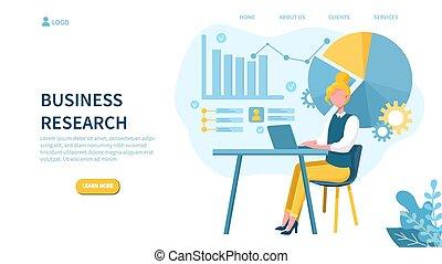研究, 概念, 女, ラップトップ, ビジネス