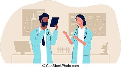 研究, 病院, 医学, interracial, 女性, カップル。, doctorc, 看護婦, staff., ベクトル, イラスト, 科学者, チーム, マレ