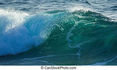 砕けている波