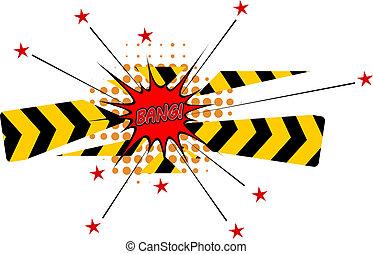 破坏, 爆炸, 星, 障碍, 卡通漫画