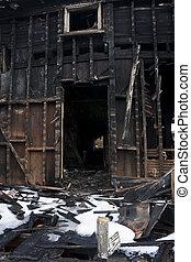 破壊された, 家の 火