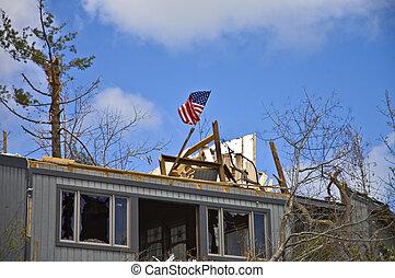 破壊された, 家, 嵐