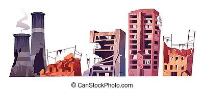 破壊された, 建物, セット, 戦争, 都市, 破壊