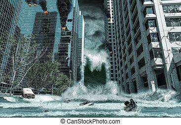 破壊された, 都市, tsunami