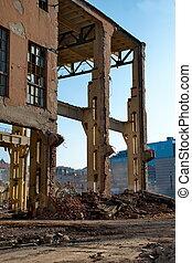 破壊, の, a, 建物