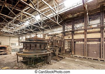破壊, 工場, 待つこと, 捨てられた, 古い年, ある