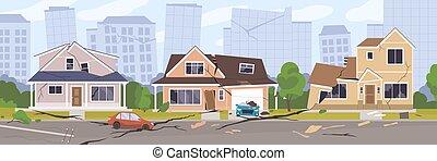 破壊, 穴, 町, 都市, illustration., 後で, 割れる, 風景, 地震, 都市の景観, 損傷, ベクトル, 震動, 家, ground., 破壊された, 建物。, ∥あるいは∥, パノラマ, 傷つけられる, 自動車, 災害