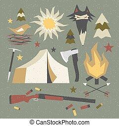 破旧, 元素, 远足, 露营, 结构