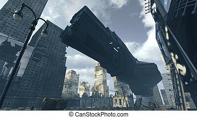 破滅的である, 貨物, city., 着陸, レンダリング, 宇宙船, 未来派, 3d