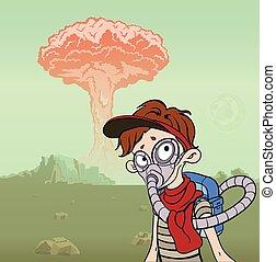 破滅的である, explosion., illustration., ガス, concept., マスク, ベクトル, 背景, 核, 実を結ばない, ポスト, 風景, 人