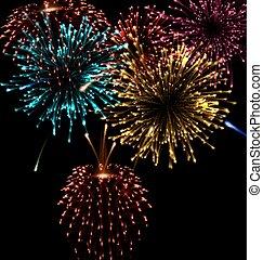 破烈, お祝い, 抽象的, 形, 花火, 様々
