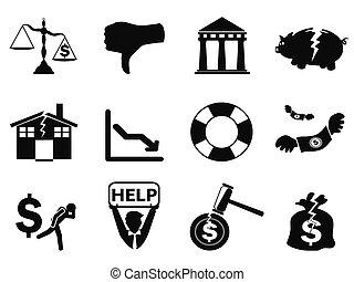 破産, セット, 黒, アイコン