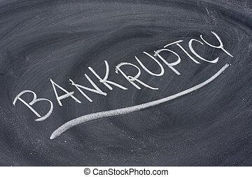 破産, 単語, 上に, 黒板