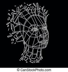 破砕, 別, グラフィック, 人間, 作成される, イラスト, オブジェクト, 頭, poly, particles., 次元, 壊される, ベクトル, demolished, 低い, 女性, 肖像画, fragments., 3d