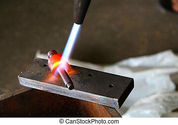 硬化, 气体, 火炬, 金屬, 切, diy, 家 被做