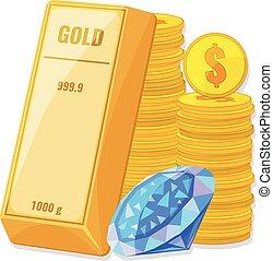 硬币, 财富, 概念, 金子, diamond., 储蓄, 条金
