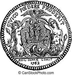 硬幣, ......的, the, 鎮, ......的, dieppe, 顯示, 二, 警報器, 以及, a, 小船,...