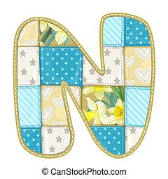 碎布, 棉被, 毛毯, -, n, roundish, 信件, 多彩色, 字体
