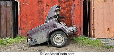 碎片, ......的, the, 汽車