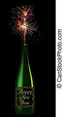 碑文, びん, 年, 新しい, シャンペン, 幸せ