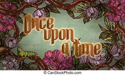 碑文, カラフルである, 型, 中, に, time., calligraphic, キャタピラー, 花, フレーム, ...