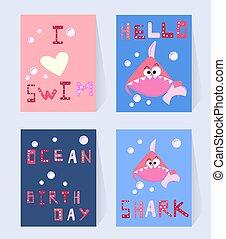 碑文, サメ, セット, 愛, パーティー, ピンク, 面白い, 装飾, カード, 特徴, 印刷, hello., ポスター, shower., イラスト, birthday, 赤ん坊, 漫画, カード, 水泳, 海洋, girl., ベクトル, birthday, 招待