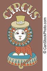 碑文, サーカス, -, 主題, ライオン, 帽子, 図画
