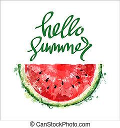 碑文, スライス, 夏, 水彩画, バックグラウンド。, ベクトル, スイカ, 半分, 白, summer., こんにちは, design.