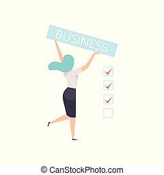 碑文, 保有物, ビジネス, 女性実業家, イラスト, ベクトル, 背景, 白, 旗