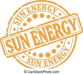 碑文, 傷つけられる, 切手, エネルギー, -, 黄色, ベクトル, 太陽, ラウンド