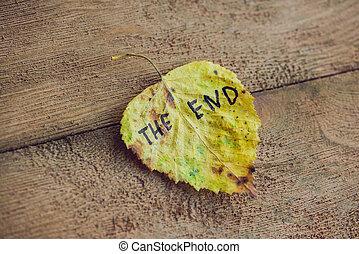 碑文, 古い, 木製である, 端, 黄色緑, 背景, 葉