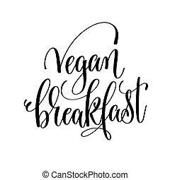 碑文, 生活, レタリング, 健康, -, vegan, 手, 朝食