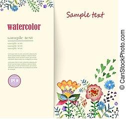 碑文, 花, watercolor., 挨拶, 整理, 場所, 花, カード