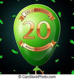 碑文, 金, 20, balloon, 記念日, イラスト, 年, バックグラウンド。, ベクトル, 緑, リボン, 紙ふぶき, 黒, 祝福