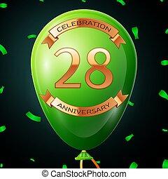 碑文, 金, 20, balloon, 記念日, イラスト, 年, バックグラウンド。, ベクトル, 黒, リボン, 紙ふぶき, 緑, 8, 祝福