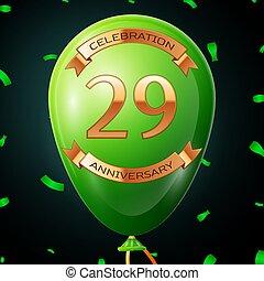碑文, 金, 20, balloon, 記念日, イラスト, 年, バックグラウンド。, ベクトル, 黒, リボン, 紙ふぶき, 緑, 9, 祝福