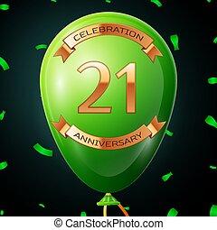碑文, 金, 20, balloon, 記念日, イラスト, 1(人・つ), バックグラウンド。, ベクトル, 緑, リボン, 紙ふぶき, 黒, 年, 祝福