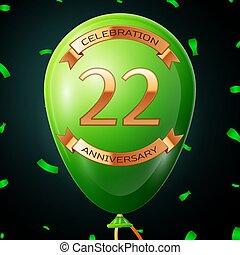 碑文, 金, 20, balloon, 2, イラスト, 年, 記念日, ベクトル, 緑, バックグラウンド。, 紙ふぶき, 黒, 祝福, リボン