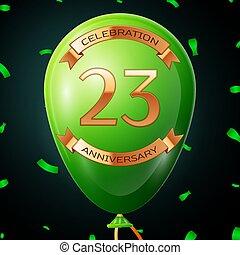 碑文, 金, 20, balloon, 3, イラスト, 年, 記念日, ベクトル, 緑, バックグラウンド。, 紙ふぶき, 黒, 祝福, リボン