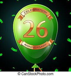 碑文, 金, 20, balloon, 6, 記念日, イラスト, 年, バックグラウンド。, ベクトル, 緑, リボン, 紙ふぶき, 黒, 祝福
