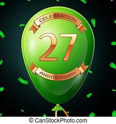 碑文, 7, 金, 20, balloon, 記念日, イラスト, 年, バックグラウンド。, ベクトル, 緑, リボン, 紙ふぶき, 黒, 祝福