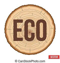 碑文, eco., セクション, 燃焼させる, 木, 交差点, vector., トランク