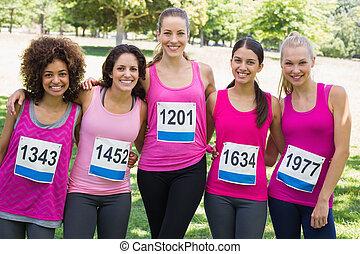 確信した, がん, 参加, 女性, 胸, マラソン