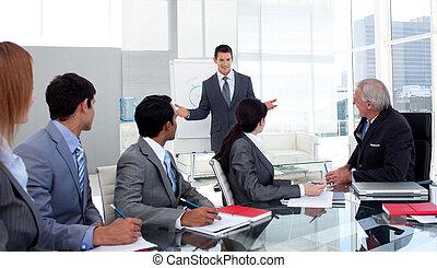 確信した, ビジネスマン, プレゼンテーションを行なう, へ, 彼の, チーム