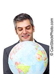 確信した, ビジネス, ビジネスマン, 世界的である, 微笑, 拡大