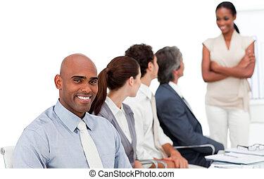 確信した, プレゼンテーション, ビジネス, グループ, 多民族